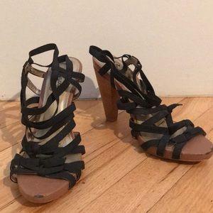 Seychelles black bow tie heels